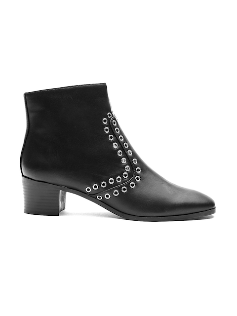 MANGO Women Black Beaded Heeled Boots