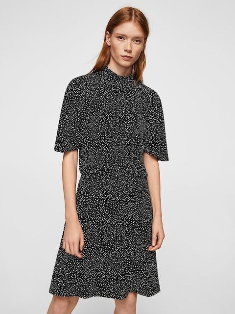 MANGO Women Black Printed Blouson Dress