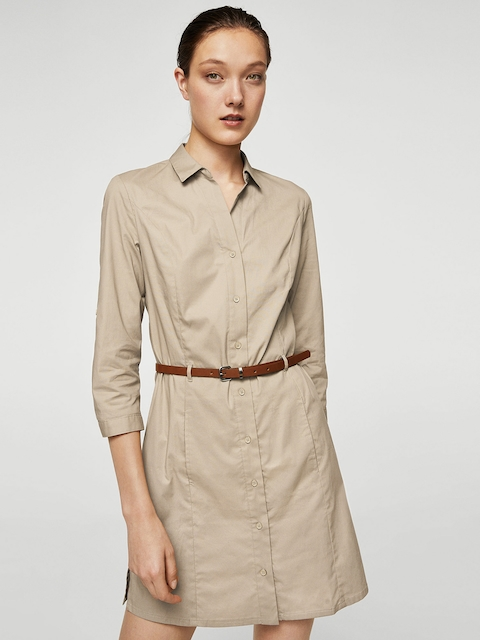 MANGO Women Beige Solid Shirt Dress