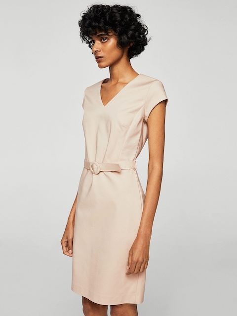 MANGO Women Beige Solid Sheath Dress
