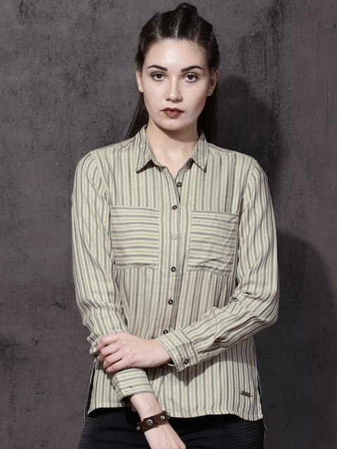 Roadster Women Beige & Blue Regular Fit Striped Casual Shirt