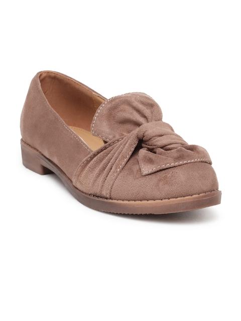 Flat n Heels Women Brown Suede Loafers