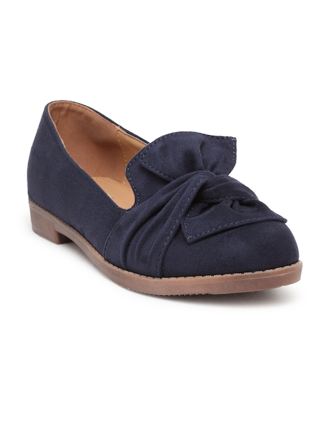 Flat n Heels Women Blue Suede Loafers