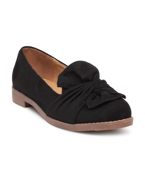 Flat n Heels Women Black Suede Loafers