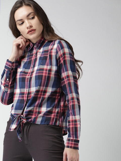 Tommy Hilfiger Women Navy Blue & Red Regular Fit Checked Casual Shirt