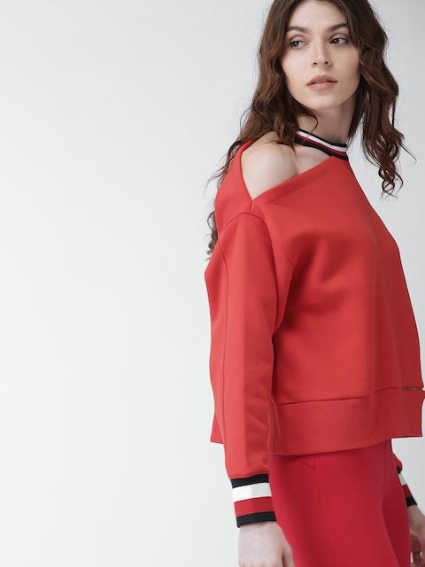 Tommy Hilfiger Women Red Solid Sweatshirt