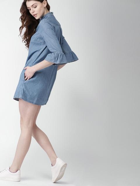 Tommy Hilfiger Women Blue Solid Denim Shirt Dress