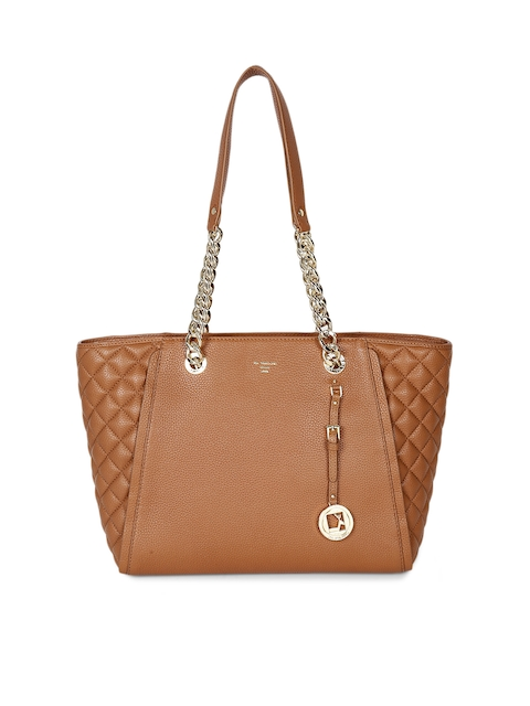 Da Milano Brown Textured Leather Shoulder Bag