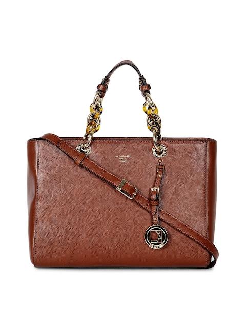 Da Milano Brown Solid Leather Handheld Bag