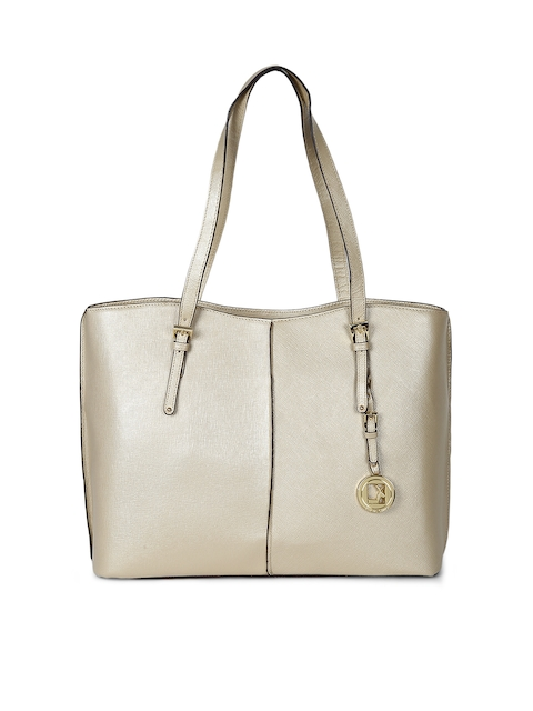 Da Milano Gold-Toned Solid Leather Shoulder Bag