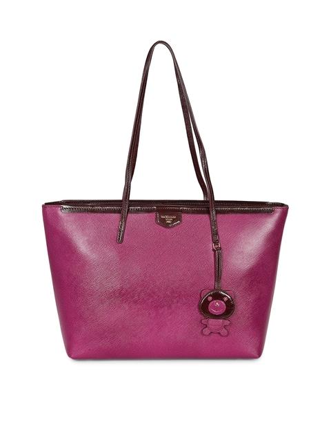 Da Milano Purple Solid Leather Shoulder Bag