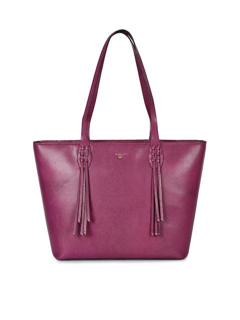 Da Milano Purple Leather Tote Bag