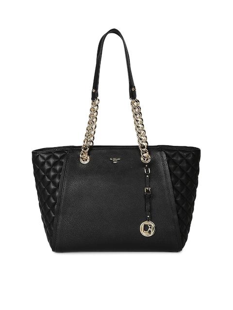 Da Milano Black Textured Leather Shoulder Bag