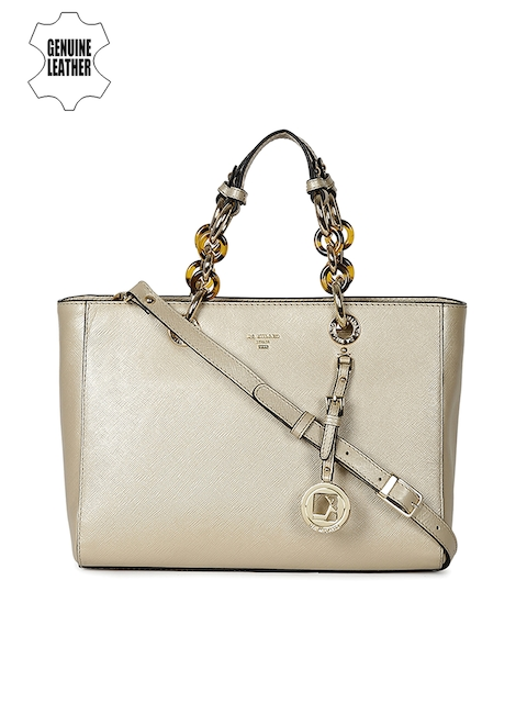 Da Milano Gold-Toned Solid Leather Handheld Bag
