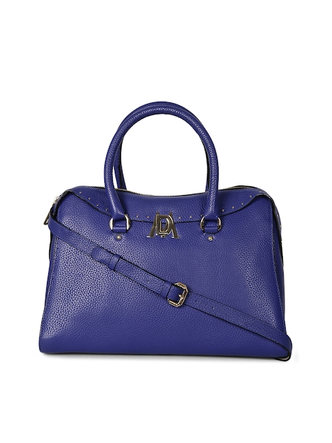 Da Milano Blue Solid Leather Handheld Bag