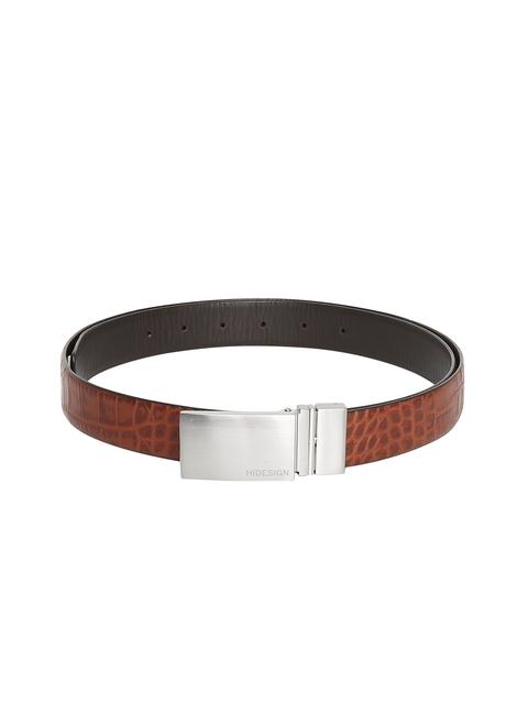 Hidesign Men Tan Brown & Black Reversible Leather Belt
