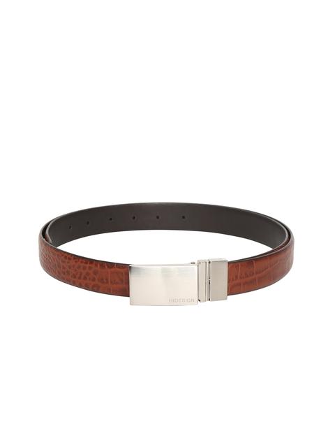 Hidesign Men Brown & Black Leather Reversible Belt