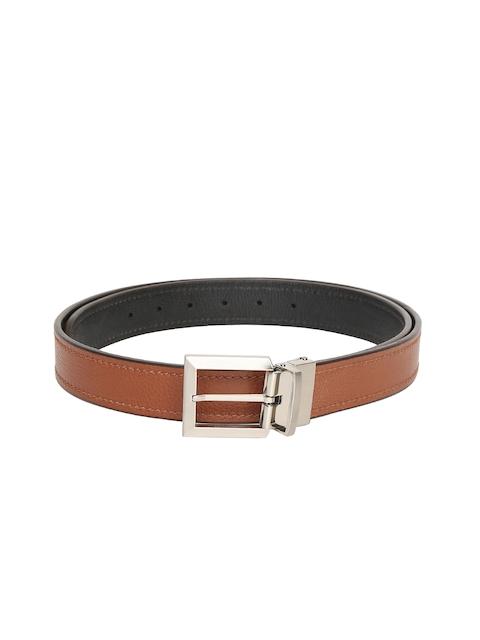 Hidesign Men Tan Brown & Black Leather Reversible Belt