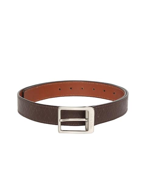 Hidesign Men Brown Leather Textured Reversible Belt