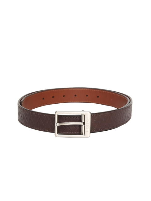 Hidesign Men Brown Leather Braided Reversible Belt