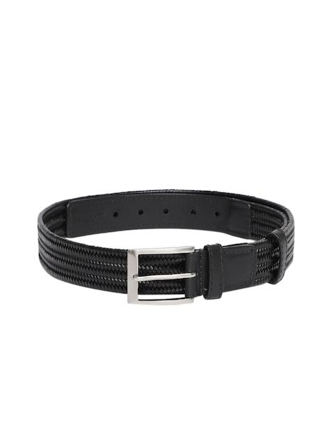Hidesign Men Black Woven Design Leather Belt