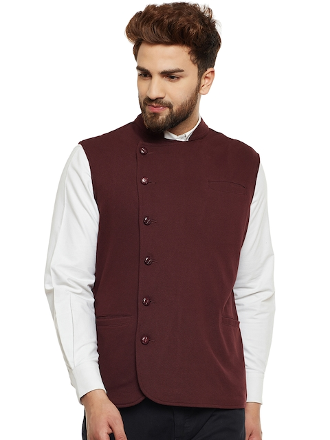 Hypernation Men Brown Double-Breasted Waistcoat