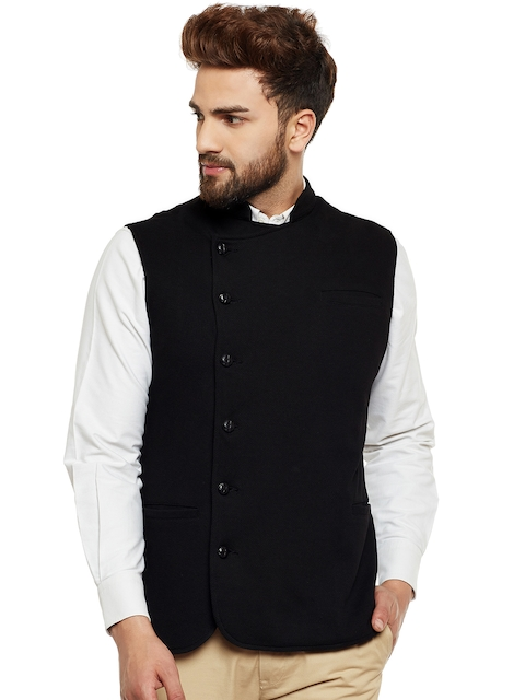Hypernation Men Black Double-Breasted Waistcoat