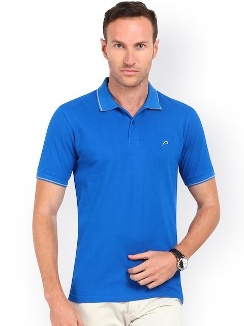 Proline Men Blue Solid Polo Collar T-shirt