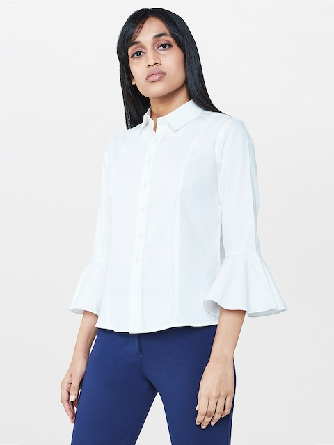 AND Women White Solid Casual Shirt