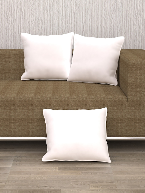 """Story@Home Set of 3 White Microfibre 16"""" x 16"""" Square Cushions"""