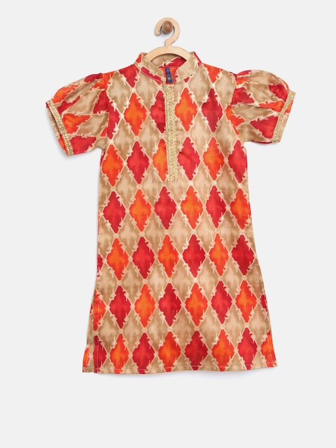 YK Girls Orange & Beige Printed Straight Kurta