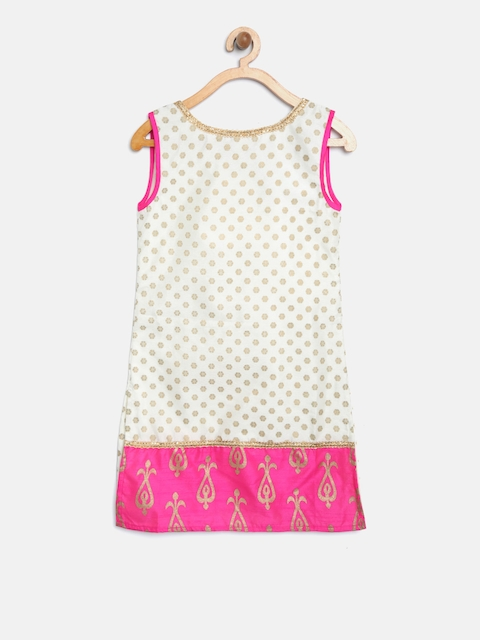 YK Girls White & Pink Printed Straight Kurta