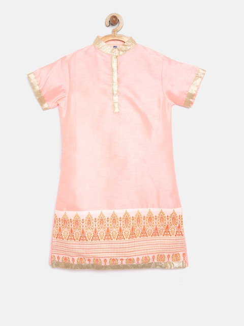 YK Girls Peach-Coloured Solid Straight Kurta