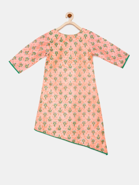 YK Girls Peach-Coloured Woven Design A-Line Kurta