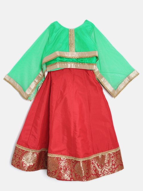 YK Girls Green and Red Ready to Wear Lehenga & Blouse with Dupatta