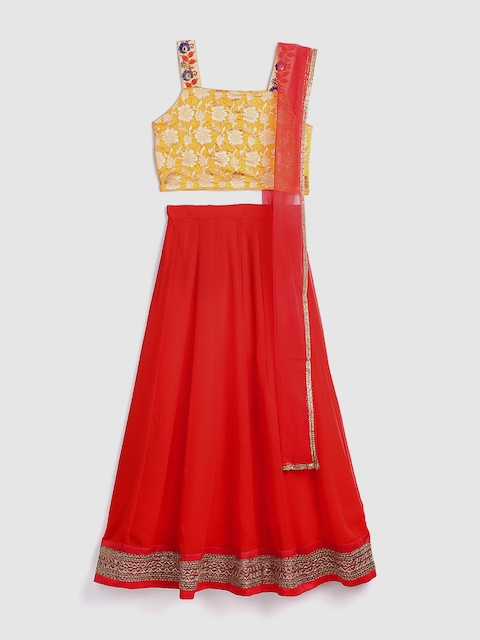 YK Girls Red & Yellow Woven Design Ready to Wear Lehenga & Blouse with Dupatta