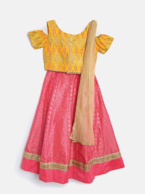 YK Girls Mustard Yellow & Pink Printed Ready to Wear Lehenga & Blouse with Dupatta