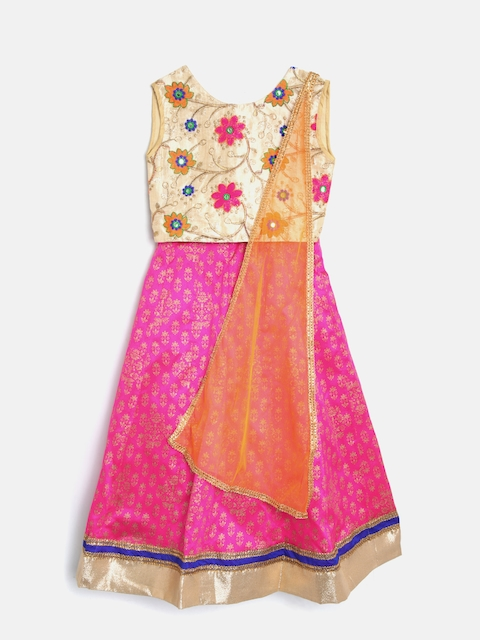 YK Girls Beige & Pink Embroidered Ready to Wear Lehenga & Blouse with Dupatta