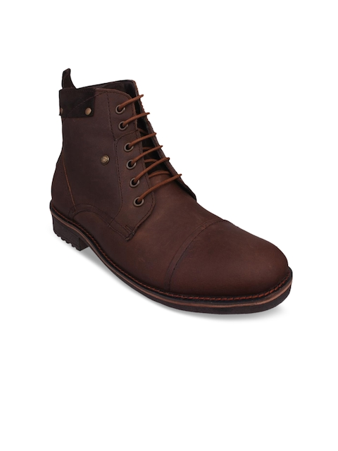 Numero Uno Men Brown Solid Leather Mid-Top Leather Flat Boots