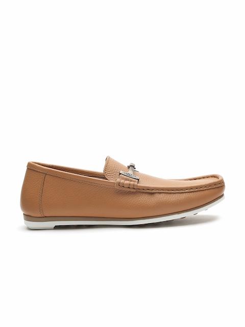Carlton London Men Tan Brown Leather Horsebit Loafers
