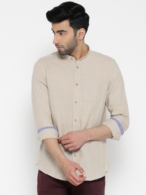 Blackberrys Men Beige Smart Fit Solid Linen Casual Shirt