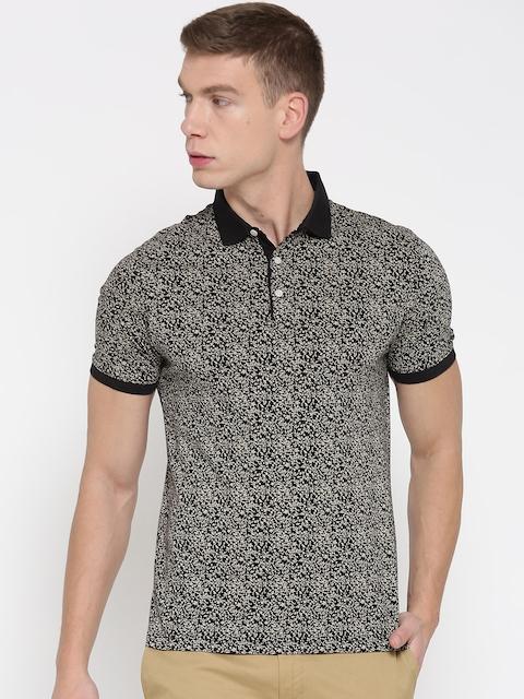 Blackberrys Men Beige & Black Printed Polo Collar T-shirt