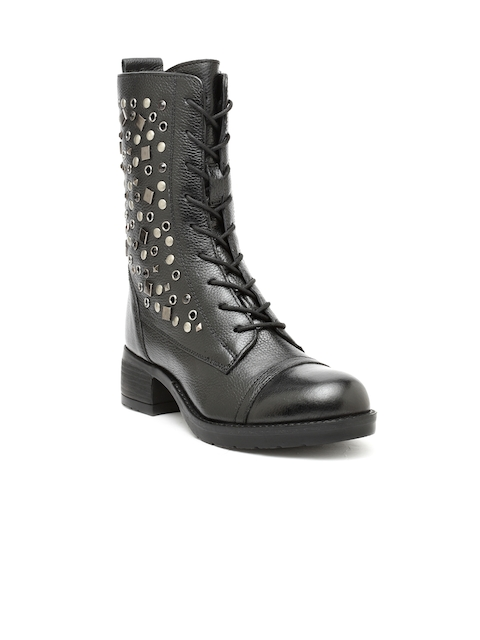 iLO Women Black Solid Heeled Boots