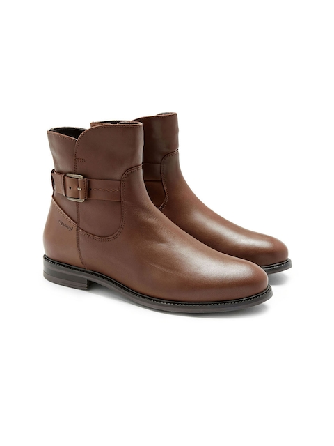 next Women Tan Solid Leather Mid-Top Flat Boots