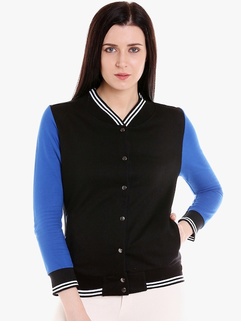 Campus Sutra Women Black & Blue Solid Quilted Jacket