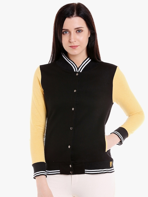 Campus Sutra Women Black & Yellow Solid Quilted Jacket