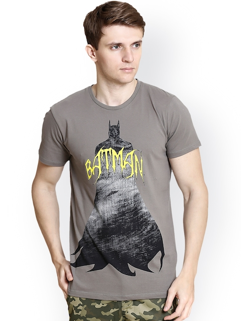 Batman Men Grey Printed Round Neck T-shirt