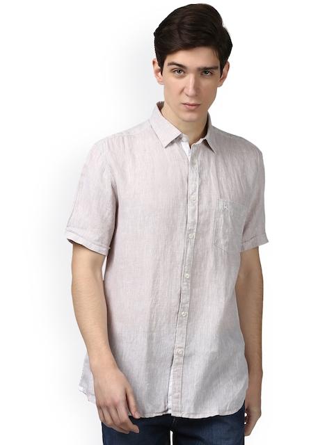 Parx Men Beige Slim Fit Solid Linen Casual Shirt