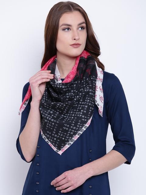 AURELIA Pink & Black Printed Scarf