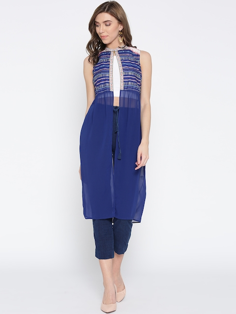 AURELIA Women Blue Solid  Longline Ethnic Jacket with Printed Detail